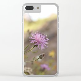 Purple Flowers Vintage on the Beach Clear iPhone Case