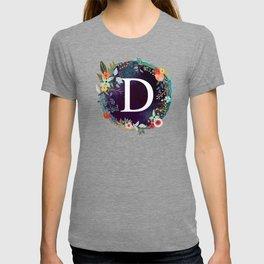 Personalized Monogram Initial Letter D Floral Wreath Artwork T-shirt