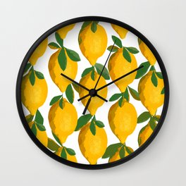 Yellow Mellow Citrons Green Leaves White Background #decor #society6 #buyart Wall Clock