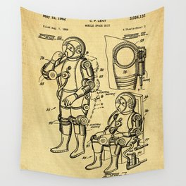 Mobile Space Suit Support Patent Drawing From 1956 Wall Tapestry