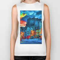 edinburgh Biker Tanks featuring Edinburgh Evening by E.M. Shafer