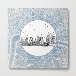 London, England (United Kingdom), Europe City Skyline Illustration Drawing Metal Print