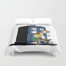 calvin and hobbes police box in action Duvet Cover