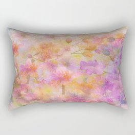 Sophisticated Painterly Floral Abstract Rectangular Pillow