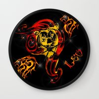 astrology Wall Clocks featuring Leo Astrology Sign by TrinityHawk Photography & Multimedia