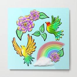 Birds Flowers and Rainbows Doodle Pattern Metal Print