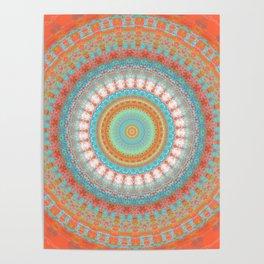 Turquoise Coral Mandala Design Poster
