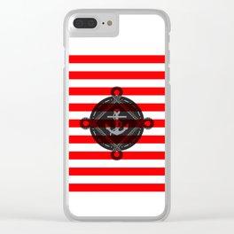 Nautica Red Stripes Clear iPhone Case