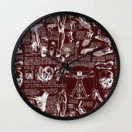 Da Vinci's Anatomy Sketchbook // Mahogany Wall Clock