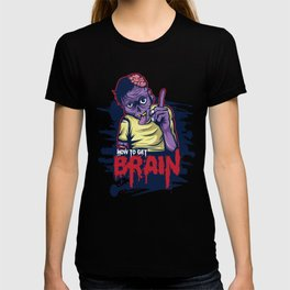 A Unique Detailed Zombie Tee For Yourself? Here's An Awesome T-shirt Saying How To Get Brain? Design T-shirt