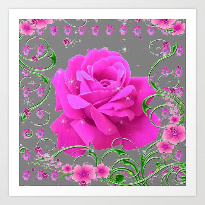 ROMANTIC CERISE PINK ROSE GREY ART RIBBONS Kunstdrucke