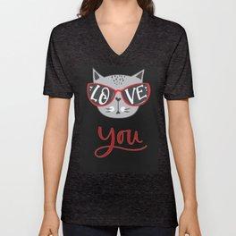 Valentine Cat LOVE YOU in sunglass on black background Unisex V-Neck