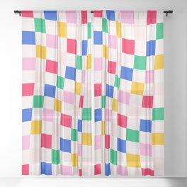 Summer Wavy Pop Checkers Sheer Curtain