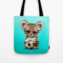 Tiger Cub With Football Soccer Ball Tote Bag