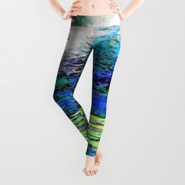 BLUE SPRUCE GREEN LILY PADS LAKE ART Leggings