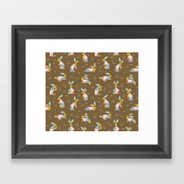Tangram Bunnies M+M Nutmeg by Friztin Framed Art Print