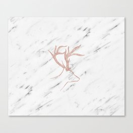 Rose gold deer - soft white marble Canvas Print