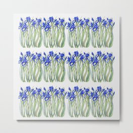 Blue Iris, Illustration Metal Print