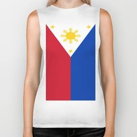 philippines Biker Tanks featuring Flag of the Philippines by Neville Hawkins