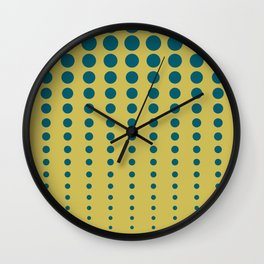Tropical Dark Teal Reduced Polka Dots Minimal Pattern Inspired by Sherwin Williams 2020 Trending Color Oceanside SW6496 on Dark Yellow Wall Clock