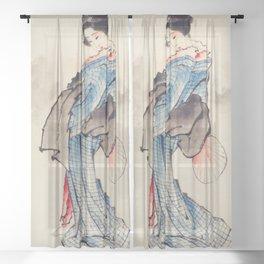 Katsushika Hokusai - Wearing Kimono with Check Design Sheer Curtain