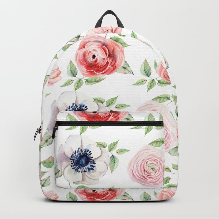 Pretty Red Rose + Pink Roses Pattern Backpack