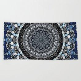 Dark Blue Grey Mandala Design Beach Towel