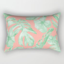 Tropical Palm Leaves Hibiscus Flowers Coral Green Rectangular Pillow