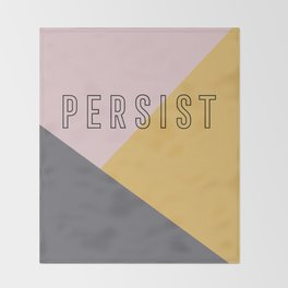 PERSIST - Bold and Modern Geometric Typography Throw Blanket