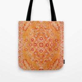 Orange Boho Oriental Vintage Traditional Moroccan Carpet style Design Tote Bag