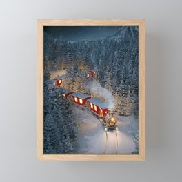 Christmas night - Amazing cute christmas train goes through fantastic winter forest in north pole. Framed Mini Art Print