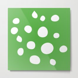 White Scattered Dots On Green Background Metal Print