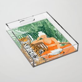 Jungle Vacay #painting #illustration Acrylic Tray