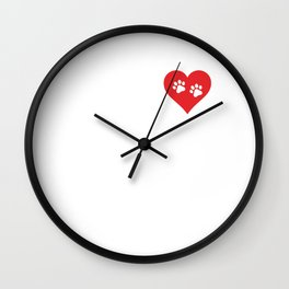 Veterinary Assistant Paw Prints on My Heart T-Shirt Wall Clock