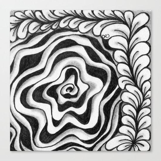 Doodled Rose & Vine Canvas Print