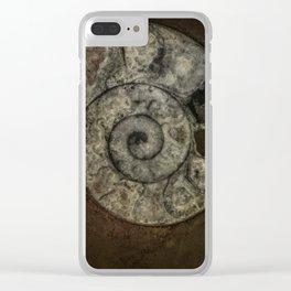 Grey ammonite Clear iPhone Case