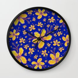 Yellow Flowers on Blue Wall Clock