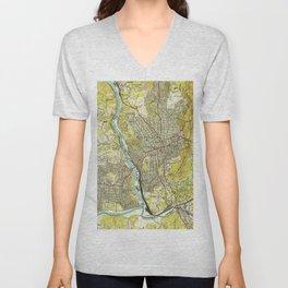 Vintage Map of Asheville North Carolina (1943) Unisex V-Neck