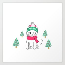 Adorable Little Cat in Christmas Time. Art Print