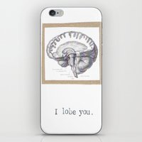 atheist iPhone & iPod Skins featuring I Lobe You  by Blue Specs Studio