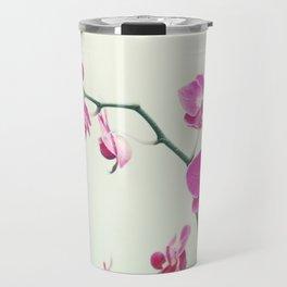 Orchid Flower Photography, Pink Mint Floral Art, Orchids Floral Photo, Botanical Nature Art Travel Mug