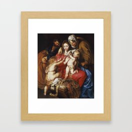 Peter Paul Rubens - The Holy Family with St. Elizabeth, St. John, and a Dove Framed Art Print