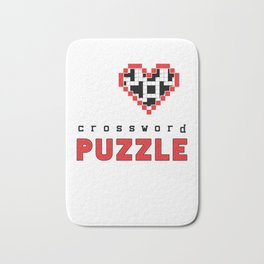 I Love Crossword Puzzle Geek Numbered Squares Puzzlers Thinking Gift Bath Mat