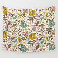 cupcakes Wall Tapestries featuring Cupcakes  by Anna Deegan