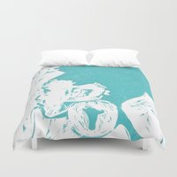 afro Duvet Covers featuring Afro Blue by J. Lynn Art