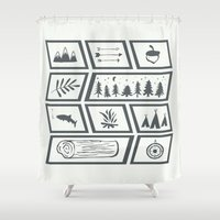 camping Shower Curtains featuring Camping by Corina Rivera Designs