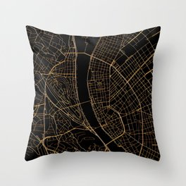 Black and gold Budapest map Throw Pillow