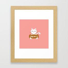 Hug Me Nyanko Framed Art Print