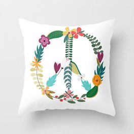 Floral Peace Sign Throw Pillow