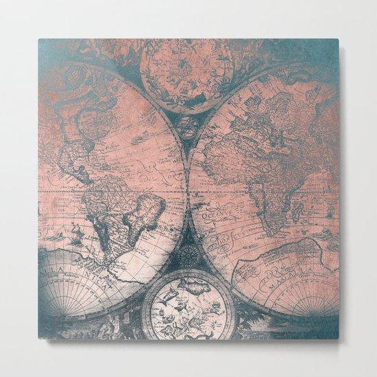 Vintage World Map Rose Gold and Storm Gray Navy Metal Print